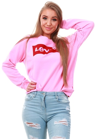 Levi's ® Sachet Pink - Pink Logo Relaxed Crewneck Sweatshirt  - Click to view a larger image