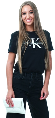 Calvin Klein Black Straight Logo T-Shirt  - Click to view a larger image