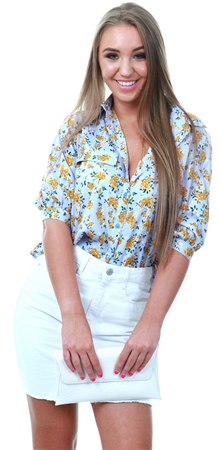 Influence Blue Floral Short Sleeve Top  - Click to view a larger image