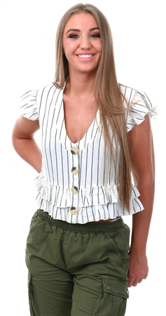Influence White Stripe Peplum Top  - Click to view a larger image