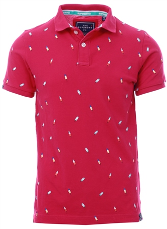 Superdry Ice Lolly Bright Coral Bermuda City Polo Shirt  - Click to view a larger image