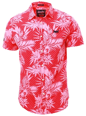 Superdry Washed Red Hibiscus Short Sleeve International Vacation Shirt  - Click to view a larger image