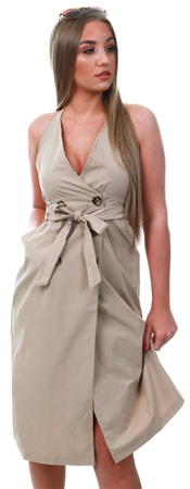 Qed Stone Button Belted Midi Dress  - Click to view a larger image
