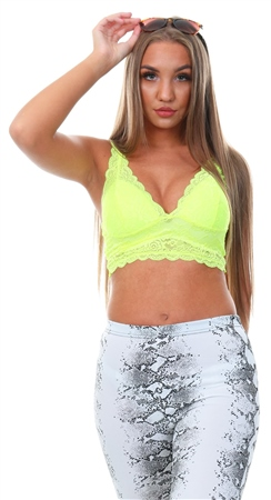 Only Yellow / Safety Yellow Chloe Lace Bra  - Click to view a larger image