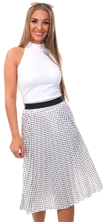 Missi Lond White Polka Dot Midi Skirt  - Click to view a larger image