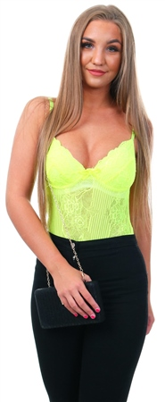 Saint Genies Neon Lime Lace Strap Detailed Bodysuit  - Click to view a larger image
