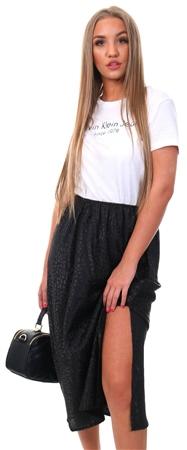 Qed Black Animal Print Midi Slip Skirt  - Click to view a larger image