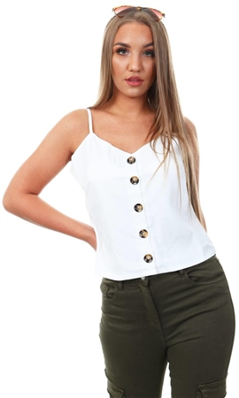 Qed Ivory Button Strap Top  - Click to view a larger image