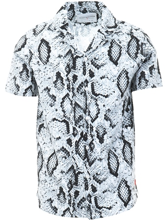 Heartbreaker Club White Snake Print Shirt  - Click to view a larger image