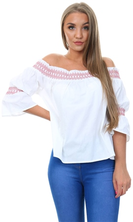 Influence White /Red Bardot Top  - Click to view a larger image