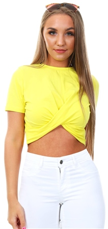 Glamorous Yellow Twist Crop Top  - Click to view a larger image