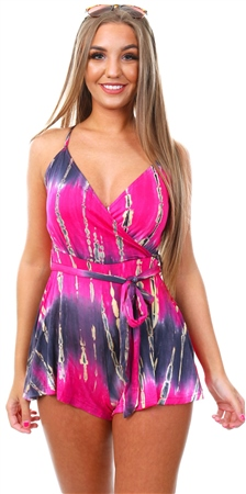 Parisian Pink Tie Dye Playsuit  - Click to view a larger image
