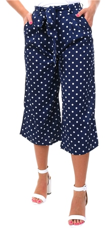 Missi Lond Navy Polka Dot Culotte Trouser  - Click to view a larger image