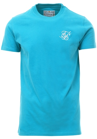 Siksilk Aqua Teal Peached Box Tee  - Click to view a larger image