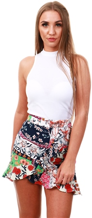 Missi Lond Floral Print Frill Wrap Mini Skirt  - Click to view a larger image