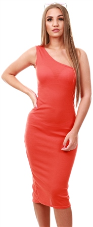 Parisian Orange One Shoulder Thigh Split Bodycon Midi Dress  - Click to view a larger image