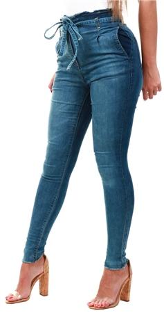 Parisian Blue Denim Paperbag Waist Frayed Jeans  - Click to view a larger image