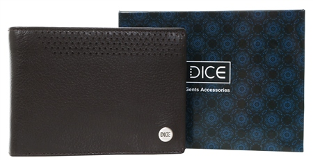 Dice Brown Leather Wallet In A Box  - Click to view a larger image