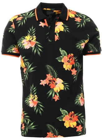 Broken Standard Black Joss Floral Polo Shirt  - Click to view a larger image