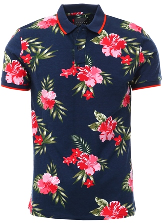 Broken Standard Navy Joss Floral Polo Shirt  - Click to view a larger image