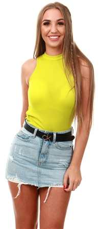 Parisian Lime Rib Knit High Neck Top  - Click to view a larger image