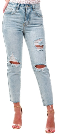 Momokrom Light Wash Ripped Frayed Hem Jean  - Click to view a larger image