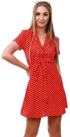 Qed Red Polka Dot Short Dress  - Click to view a larger image