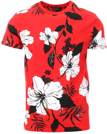 Broken Standard Red Floral Short Sleeve T-Shirt  - Click to view a larger image