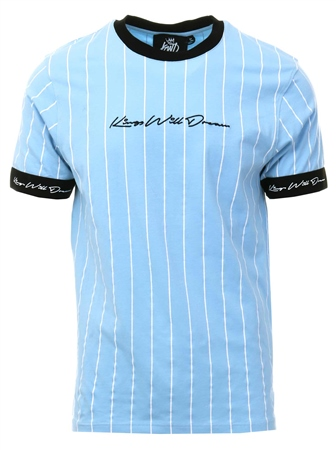 Kings Will Dream Blue Clifton Pinstripe T-Shirt  - Click to view a larger image