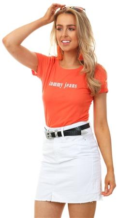 Hilfiger Denim Orange Organic Cotton Blend Logo T-Shirt  - Click to view a larger image
