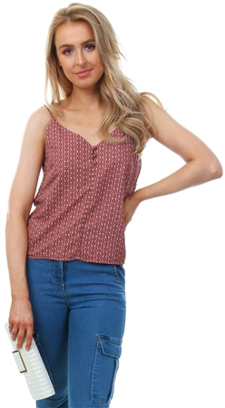 Only Spice Pattern Button Strap Top  - Click to view a larger image