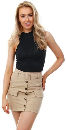 Parisian Camel Button Front Pocket Mini Skirt  - Click to view a larger image