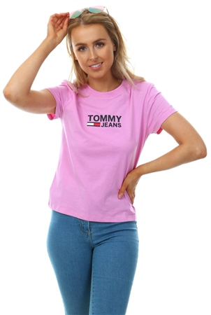 Hilfiger Denim Lilac Chiffon Logo T-Shirt  - Click to view a larger image