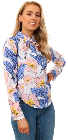 Missi Lond Floral Print Blouse With Neck Tie Detail  - Click to view a larger image