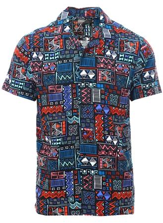Broken Standard Black Aztech Print Short Sleeve Shirt  - Click to view a larger image