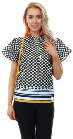 Cutie London Yellow Black Pattern Top  - Click to view a larger image