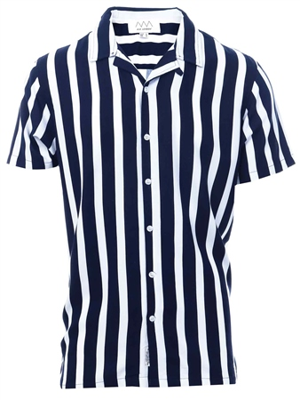 Threadbare Navy/White Palermo Button Up Shirt  - Click to view a larger image