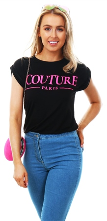 Parisian Black Couture Print Short Sleeve T-Shirt  - Click to view a larger image