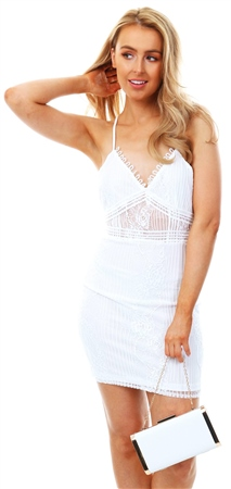 Parisian White Lace Sheer Panel Detail Cami Mini Dress  - Click to view a larger image
