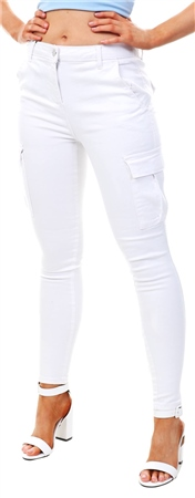 Parisian White Cargo Pocket Mid Rise Skinny Jeans  - Click to view a larger image
