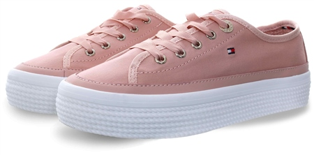 Hilfiger Denim Dusty Rose Signature Flatform Trainers  - Click to view a larger image