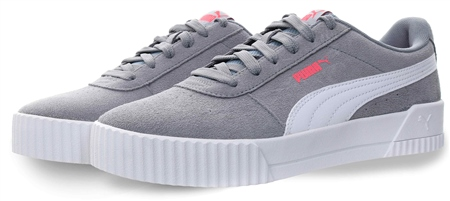 Puma Grey/ White Carina Suede Sneakers  - Click to view a larger image
