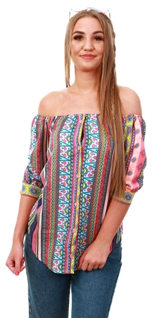 Influence Aztec Pattern Bardot Top  - Click to view a larger image