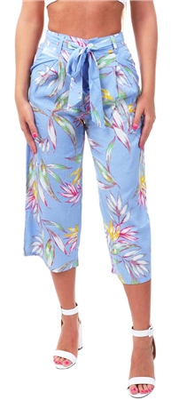 Missi Lond Blue Floral Belted Culottes  - Click to view a larger image