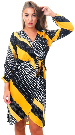 Ax Paris Yellow Pattern Print Wrap Dress  - Click to view a larger image