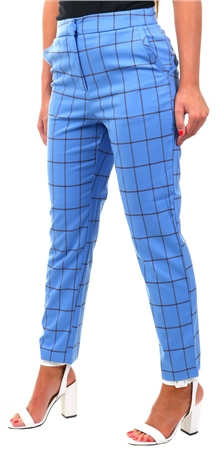 Vila Ultramarine Blue Cropped High Waisted Pants  - Click to view a larger image