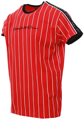 Kings Will Dream Red Rifton Pinstripe T-Shirt  - Click to view a larger image