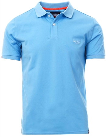 Superdry Wave Blue Classic Micro Pique Polo Shirt  - Click to view a larger image