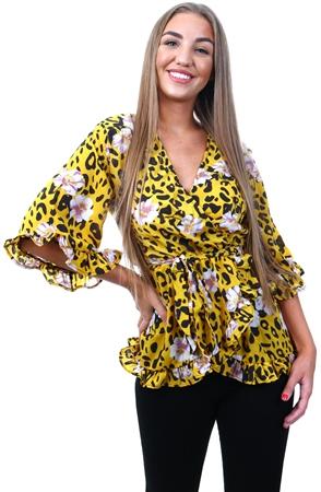 5d6a3220d01a2 Ax Paris Yellow Animal Print Wrap Top | | Shop the latest fashion online @  DV8