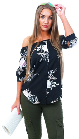 Influence Black Floral Pattern Bardot Top  - Click to view a larger image